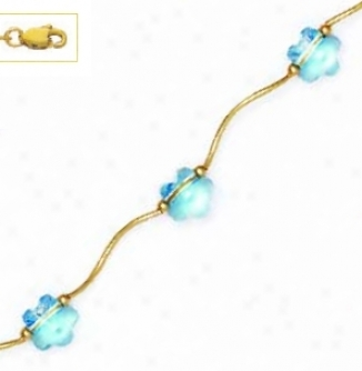 14k Yellow 8 Mm Flower Blue Crystal Necklac3
