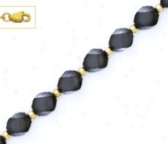 14k Yellow 8 Mm Helix Black Crystal Bead Station Necklace - C