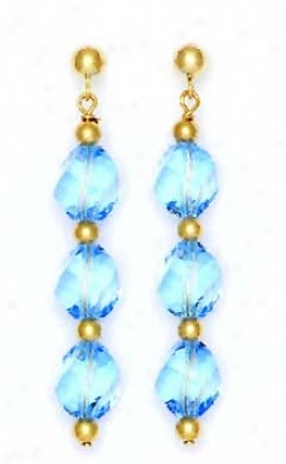 14k Yellow 8 Mm Helix Blue Crystal Drop Earrings