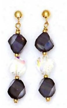 14k Yellow 8 Mm Helix Clear And Jet-black Crystal Earrings