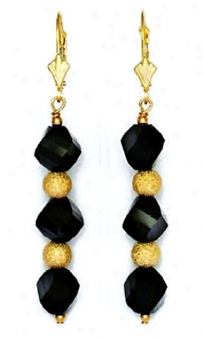 14k Yellow 8 Mm Helix Jet-black Crystal Drop Earrings