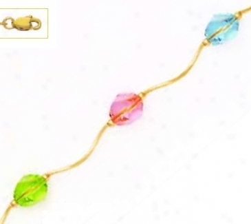 14k Yellow 8 Mm Helix Pink Blue And Green Crystal Necklace -