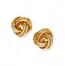 14k Yellow 8 Mm Love-knot Friction-back Post Earrings