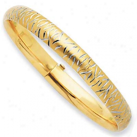 14k Yellow 8 Mm Moedrn Diamond-cut Bangle Bangle - 7 Inch