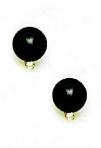 14k Yellow 8 Mm Round Negro Crystal Pearl Cz Earrings