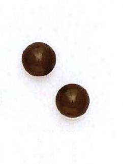 14k Yellow 8 Mm Round Black Onyx Post Stud Earrings
