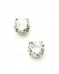 14k Yellow 8 Mm Round Cz Friction-back Post Post Earrings