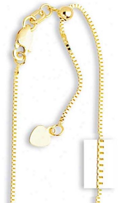 14k Yellow .85 Mm Adjustable Box Chain Necklace - 22 Inchh