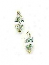 14k Yellow 8x4 Mm Marquise Cz Post Stud Earrings