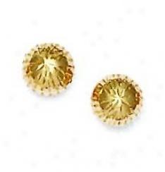14k Yellow 9 Mm Diamond-cut Ball Earrings