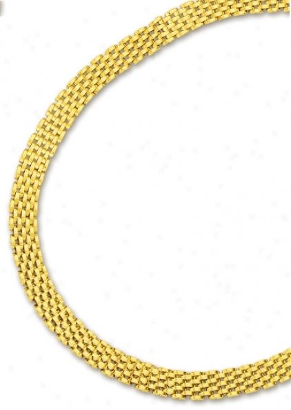 14k Yellow 9 Mm Seven Row Panther Necklace - 17 Inch