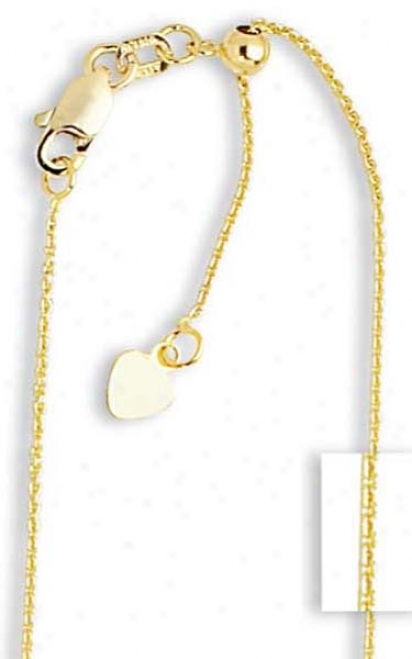 14k Yellow .90 Mm Adjustable Cable Chqiin Necklace - 22 Inch