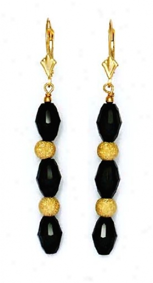 14k Yellow 9x6 Mm Barrel Jet-black Crystal Drop Earrings