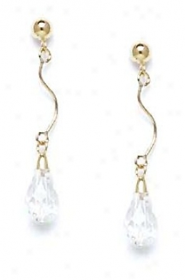 14k Yellow 9x6 Mm Briolette Clear Crystal Drop Earrings