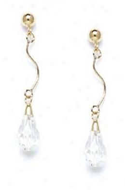 14k Yellow 9x6 Mm Briolette Clear Crystal Drop Earrings