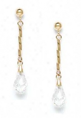 14k Yellow 9x6 Mm Briolette Clear Crystal Earrings