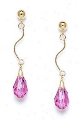 14k Yellow 9x6 Mm Briolette Dark-rose Crystal Drop Earrings