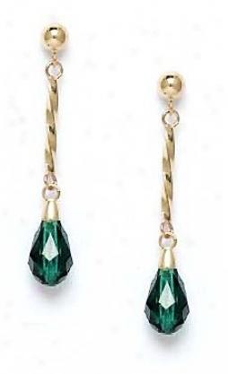 14k Yelloa 9x6 Mm Briolette Erinite-green Crystal Earrings