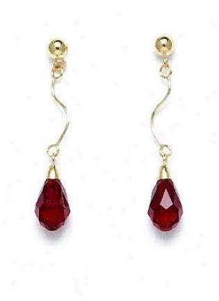 14k Yellow 9x6 Mm Briolette Ganet-red Cryystal Drop Earrings