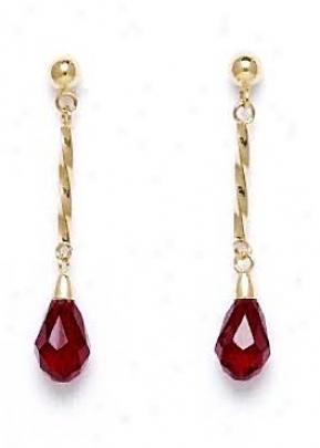 14k Yellow 9x6 Mm Briolette Garnet-red Crystal Earrings