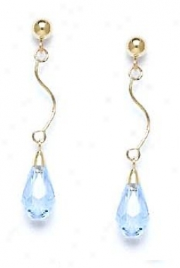 14k Yellow 9z6 Mm Briolette Light-aqua Crystal Drop Earrings