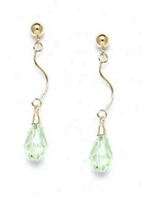 14k Yellow 9x6 Mm Briolette Light-azore Crystal Earrings