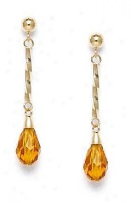 14k Yellow 9x6 Mm Briolette Light-citrine Crystal Earrings