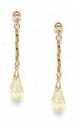 14k Yellow 9x6 Mm Briolette Light-cream Crystal Earrings