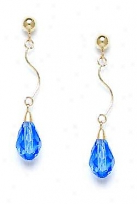 14k Yellow 9x6 Mm Briolette Lightt-sapphire Crystal Earrings