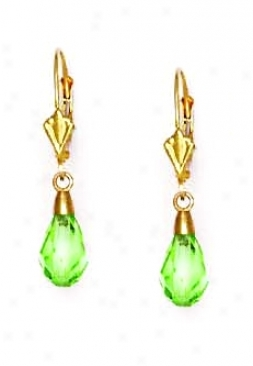 14k Yellow 9x6 Mm Briolette Peridot-green Crystal Earrings