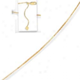 14k Yellow Adjustable Fancy Childrens Necklace - 17 Inch
