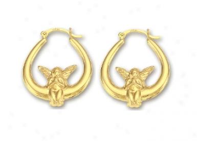 14k Yellow Angle Hoop Earrings