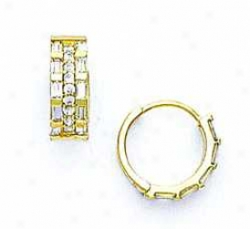 14k Yellow Baguette And Round Cz Hinged Earrings