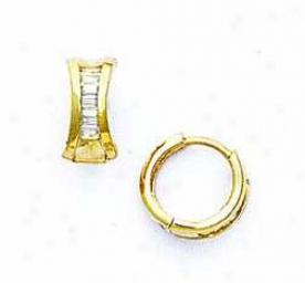 14k Yellow Baguette-cut Cz Petite Hinged Earrings
