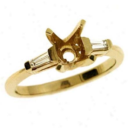 14k Yellow Baguette Diamond Semi-mount Engagement Resonance