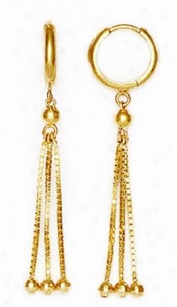 14k Yellow Bead Drop Hinged Earrings