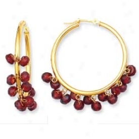 14k Yellow Bead Hoop Garnet Earrings