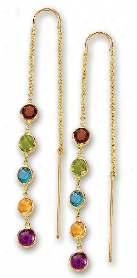 14k Yellow Besel Set Gemstone Earrings