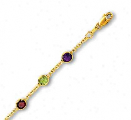 14k Yellow Besel Set Stston Gemstone Anklet - 10 Inch