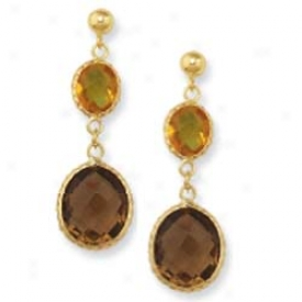 14k Yellow Bezel Bold Oval Drop Smokey Topaz Earrings