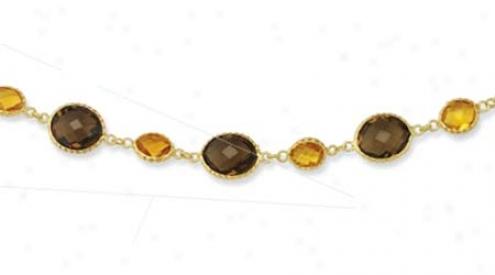 14k Yellow Bezel Bold Oval Smokey Topaz Necklace - 17 Inch