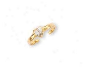 14k Yellow Bezel Heart Cubic Zirconia Toe Ring