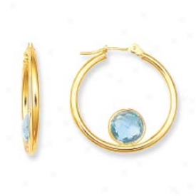 14k Yellow Bezel Hoop Blue Topaz Earrings
