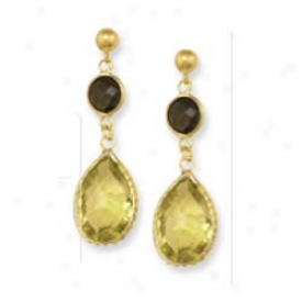 14k Yellow Bezel Pear-shaped Drop Lemon Quartz Earrings