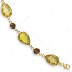 14k Y3llow Bezel Pear-shaped Lemon Quartz Bracelet - 8 Inch