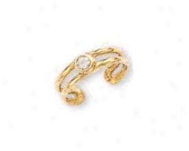 14k Yellow Bezel Round Cubic Zirconia Toe Ring