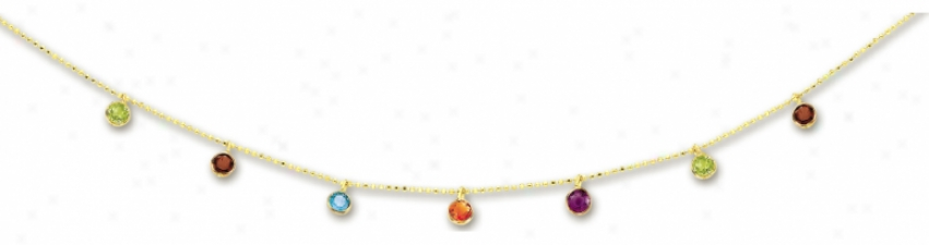 14k Yelow Bezel Set Drop Gemstone Necklace - 18 Inch