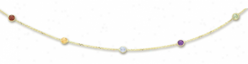 14k Yellow Bezel Set Station Gemstone Neccklace - 16 Inch