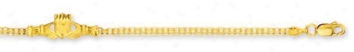 14k Yellow Bizmark And Claddagh Anklet - 100 Inch