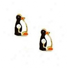 14k Yellow Black And White Enamel Childrens Penguin Earrinsg